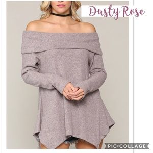 Dusty Rose Off The Shoulders Top